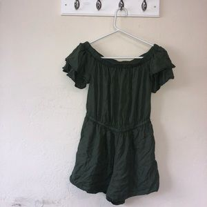 OLD NAVY army green ruffle romper